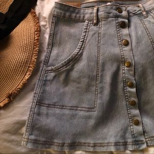 {Angel Premium} Light blue,Button down denim skirt